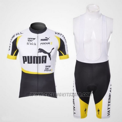 2013 Cycling Jersey Puma Black and White Short Sleeve and Bib Short