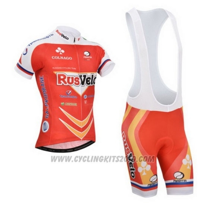 2013 Cycling Jersey Rusvelo Red Short Sleeve and Bib Short