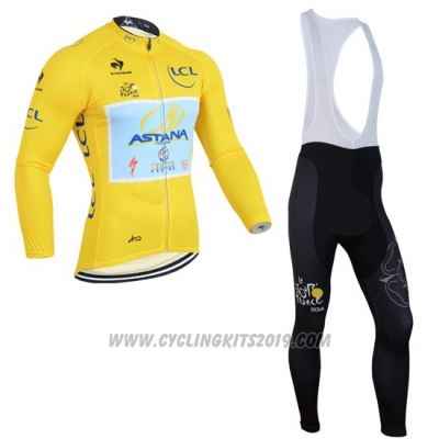 2014 Cycling Jersey Astana Lider Yellow Long Sleeve and Bib Tight