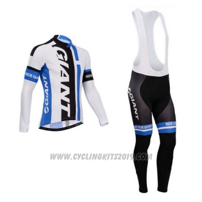 2014 Cycling Jersey Giant White and Sky Blue Long Sleeve and Bib Tight