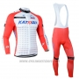 2014 Cycling Jersey Katusha White and Red Long Sleeve and Bib Tight
