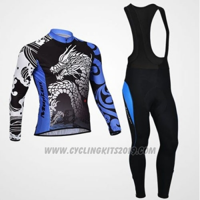 2014 Cycling Jersey Monton Black and Blue Long Sleeve and Bib Tight