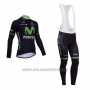 2014 Cycling Jersey Movistar Black Long Sleeve and Bib Tight