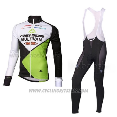 2014 Cycling Jersey Multivan Merida Green and White Long Sleeve and Bib Tight