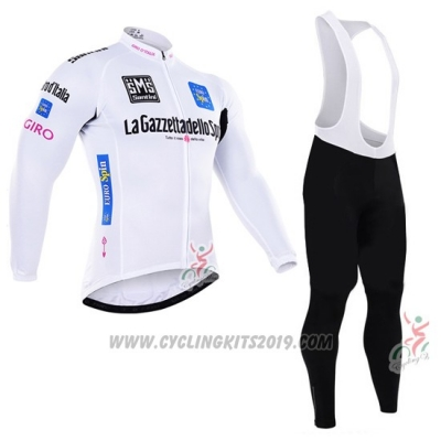 2016 Cycling Jersey Giro D'italy White and Blue Long Sleeve and Bib Tight