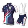 2016 Cycling Jersey Luxembourg Blue and White Short Sleeve and Bib Short