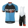 2016 Cycling Jersey Scott Blue and Orange Short Sleeve and Salopette