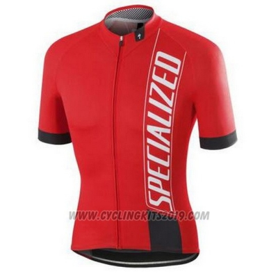 2016 Cycling Jersey Specialized Bright Red and Black Short Sleeve and Bib Short