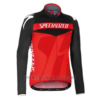 2016 Cycling Jersey Specialized Ml Black and Red Long Sleeve and Bib Tight