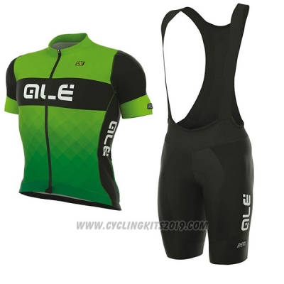 2017 Cycling Jersey ALE R-ev1 Rumbles Green Short Sleeve and Bib Short