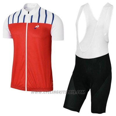 2017 Cycling Jersey Coq Sportif Tour de France Red and White Short Sleeve and Bib Short