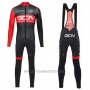 2017 Cycling Jersey GCN Black and Red Long Sleeve and Bib Tight