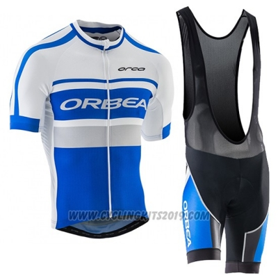 2017 Cycling Jersey Orbea White and Blue Short Sleeve and Bib Short