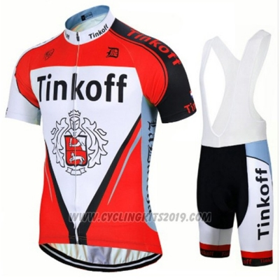2017 Cycling Jersey Tinkoff Red Short Sleeve and Bib Short