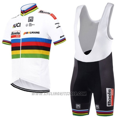 2017 Cycling Jersey UCI Mondo Campione Boels Dolmans White Short Sleeve and Bib Short