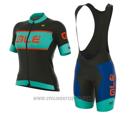2017 Cycling Jersey Women ALE R-ev1 Master Black and Light Blue Short Sleeve and Bib Short
