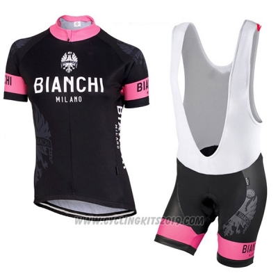 2017 Cycling Jersey Women Bianchi Black and Pink Short Sleeve and Bib Short