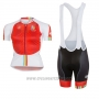 2017 Cycling Jersey Women Castelli Maratona Red and White Short Sleeve and Bib Short