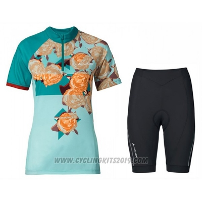 2017 Cycling Jersey Women Vaude Light Blue Short Sleeve and Bib Short