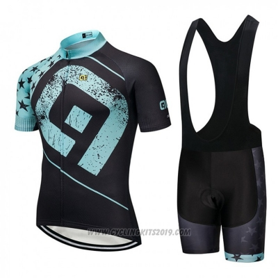 2018 Cycling Jersey ALE Black and Blue Short Sleeve and Bib Short