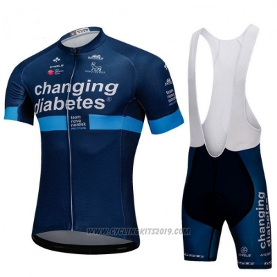 2018 Cycling Jersey Changing Diabetes Blue Short Sleeve and Bib Short