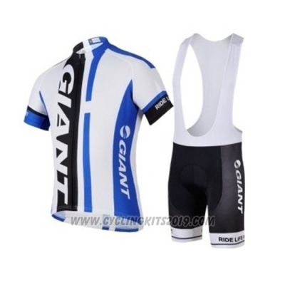 2018 Cycling Jersey Giant White Blue Black Short Sleeve and Bib Short