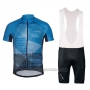 2018 Cycling Jersey Vaude Majura Blue Short Sleeve and Bib Short