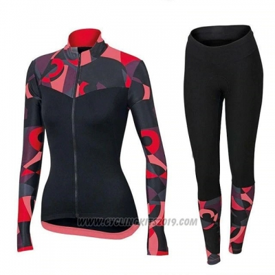2018 Cycling Jersey Women Orbea Red and Black Long Sleeve and Bib Tight