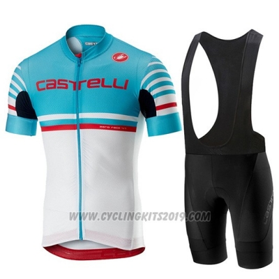 2019 Cycling Jersey Castelli Free AR 4.1 Sky Blue White Short Sleeve and Bib Short