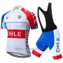 2019 Cycling Jersey Chile White Red Short Sleeve and Bib Short