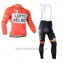 2019 Cycling Jersey Lotto Soudal Orange White Long Sleeve and Bib Tight