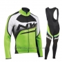 2019 Cycling Jersey Northwave Green Black White Long Sleeve and Bib Tight