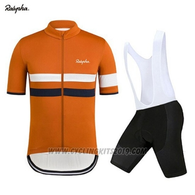 2019 Cycling Jersey Rapha Orange White Short Sleeve and Bib Short
