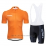 2019 Cycling Jersey STRAVA Orange White Short Sleeve and Bib Short