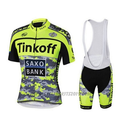 2019 Cycling Jersey Tinkoff Yellow Green Black Short Sleeve and Bib Short