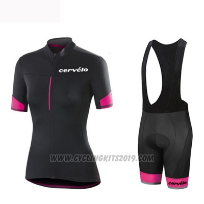 2019 Cycling Jersey Women Cervelo Black Pink Short Sleeve and Bib Short