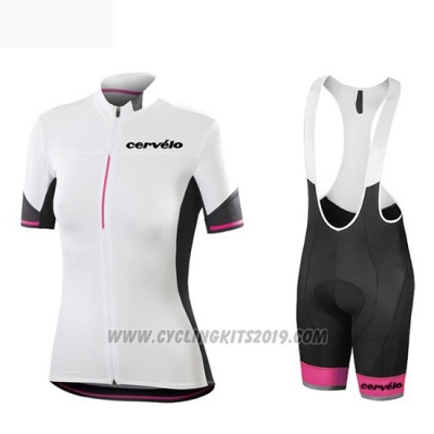 2019 Cycling Jersey Women Cervelo White Black Short Sleeve and Bib Short