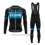 2020 Cycling Jersey Cube Blue Black Long Sleeve and Bib Tight