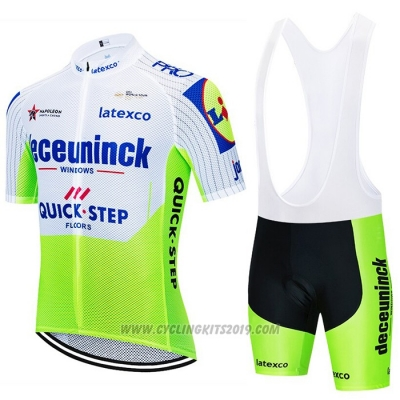 2020 Cycling Jersey Deceuninck Quick Step White Green Short Sleeve and Bib Short