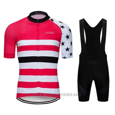 2020 Cycling Jersey Le Col Pink White Short Sleeve and Bib Short