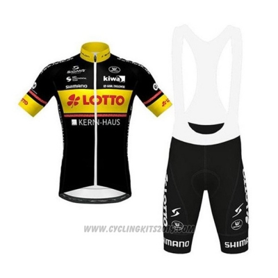 2020 Cycling Jersey Lotto-kern Haus Black Yellow Short Sleeve and Bib Short