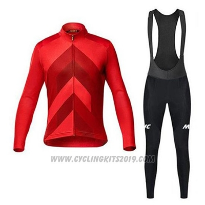 2020 Cycling Jersey Mavic Red Long Sleeve and Bib Tight