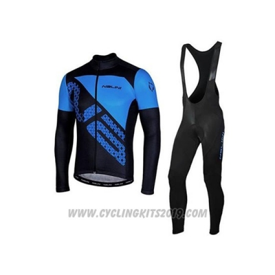 2020 Cycling Jersey Nalini Black Blue Long Sleeve and Bib Tight