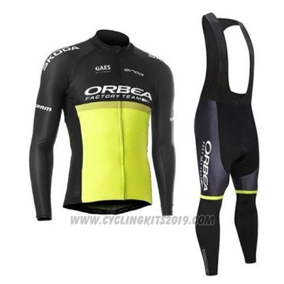 2020 Cycling Jersey Orbea Black Yellow Long Sleeve and Bib Tight
