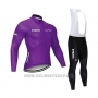 2020 Cycling Jersey STRAVA Dark Purple Long Sleeve and Bib Tight