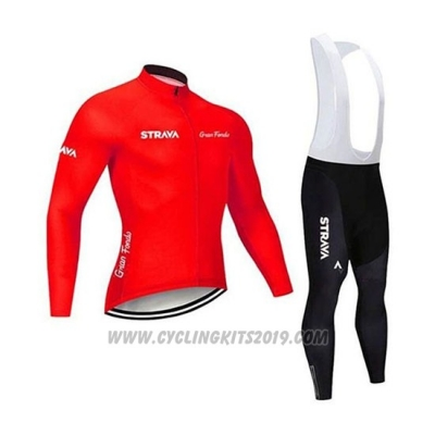2020 Cycling Jersey STRAVA Red Long Sleeve and Bib Tight
