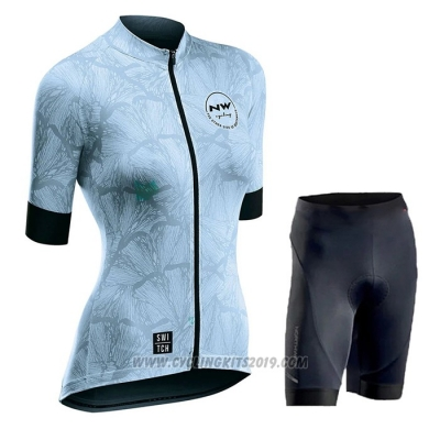 2020 Cycling Jersey Women Northwave Blue Black Short Sleeve and Bib Short