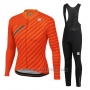 2020 Cycling Jersey Women Sportful Orange Gray Long Sleeve and Bib Tight