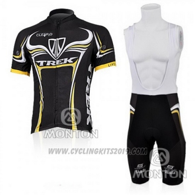 2009 Cycling Jersey Trek Black and Yellow Short Sleeve and Bib Short