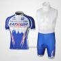 2010 Cycling Jersey Katusha Blue and Blue Short Sleeve and Bib Short